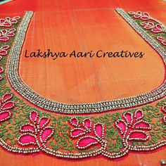 Lakshya Aari Creatives Contact or WhatsApp 9940050955 We also conduct Aari embroidery classes South Indian Blouse Designs, Best Blouse Designs, Simple Blouse Designs, Stylish Blouse Design, Silk Saree Blouse Designs, Bridal Blouse Designs, Blouse Neck Designs, Embroidery Neck Designs, Aari Embroidery