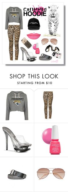 """When Kitty Came To Jacksonville (or) Cool For Cats"" by misartes ❤ liked on Polyvore featuring Topshop, Balmain, Manolo Blahnik, Pleaser, China Glaze, Anastasia Beverly Hills, H&M, Casetify, kitty and JacksonvilleJaguars"