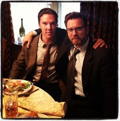 So much sexy in one photo.  I can hardly handle it! Benedict Cumberbatch. And Ewan McGregor.[Taken from Ewan McGregor's Instagram.]