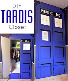 This is going to happen in my next place! Too bad its not bigger on the inside - or smaller on the outside. :P How Paint Your Own TARDIS - Mad in Crafts