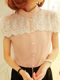 Material: Chiffon Colors: Pink, White Size: One size(Regular) Detail in Tile Measurement: Length: 56cm Bust: 90cm Sleeve: 15cm  Please write note for size and color when ordering.