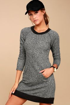 You're in for a cozy treat with the Others Follow Opening Night Charcoal Grey Sweater Dress! Dark grey ribbed knit shapes a crew neck atop this comfy, marl knit sweater dress. Long, fitted sleeves frame the figure-skimming bodice with a kangaroo pocket and mini hem.