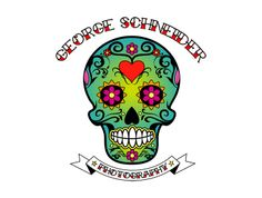 Cool looking George Schneider skull. A bit of a hippy logo design. Love the flowers and the heart. A different photography logo. Photography Logo Design, Photography Companies, How To Look Better, Skull, Hippy, Creative, Flowers, Heart, Photography Logos