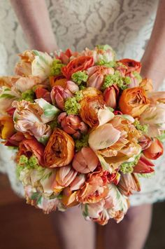 Orange, peach, salmon, apricot and coral flowers...can't get enough!!!
