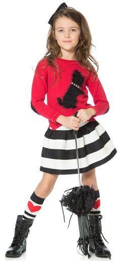 Deux Par Deux Music Hall 3pc Sweater, Skirt & Socks Set (sz 2-6)