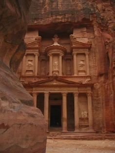 Petra: stone structures carved into rocks