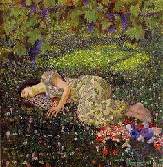 "Flowers alway's flowers Peinture- lit des fleurs-; Felice Casorati   ""fiori siempre fiori"""