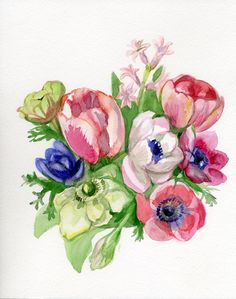 Spring Flowers Painting, pink, green, purple, red original watercolor, Mother's day, Tulip, Hyacinth, Anemone. $80.00, via Etsy.