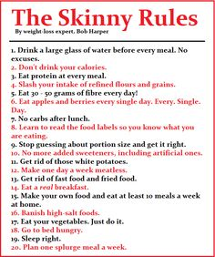 "A printable version of Bob Harpers ""The Skinny Rules""  Enjoy! :)"