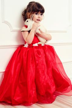 Cuddly Bunny.....Beautiful Red Dress for a Little Girl....possible Christmas Wedding Flower Girl