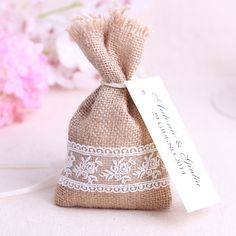 Image result for lace hessian bag