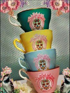 sugar skull vanity tea cups. these immediately made me think of @oliviaacainn