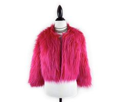 90's Hot Pink Super Shaggy Cropped Faux Fur Coat by FeelingVagueVintage, $148.00