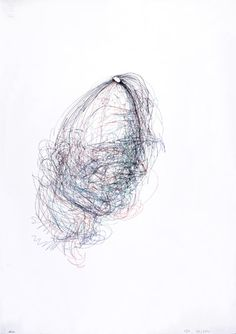 claude heath, Head 157 1995 Biro on paper inspiration from lines layering and shapes Blind Drawing, Drawing Sketches, Contour Drawings, Figure Drawing, Sketching, But Is It Art, Drawing Exercises, Line Art, Art Projects