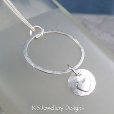 Sterling Silver Circle Pendant - HEART DISC CHARM - Handmade Metalwork Necklace…