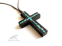 Wenge cross necklace inlaid with turquoise by NikibarsNatureArt