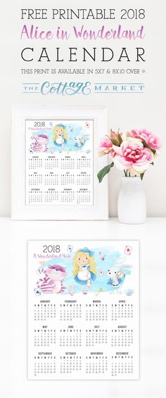 Free Printable 2018 Alice in Wonderland Calendar