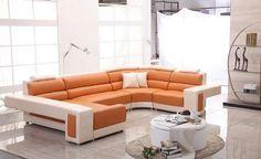 Modern Orange and Beige Sectional Sofa Furniture                                                                                                                                                                                 More
