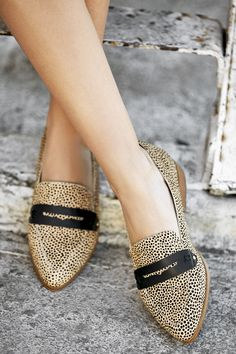 Cheetah pointed toe flats with menswear details | Sole Society Jessica