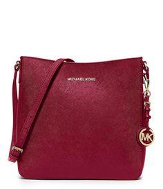 MICHAEL Michael Kors Red Jet Set Travel Large Leather Messenger Crossbody Bag #MichaelKors #MessengerCrossBody