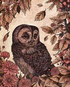 Owl and Mums 8x10 Print van angelarizza op Etsy