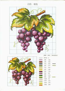 схема вышивки крестом виноград