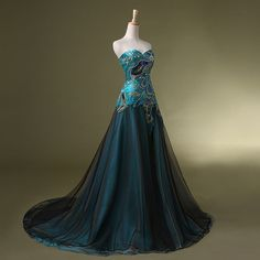 Women's Princess Frozen Dress Peacock Prom Dresses Formal Evening... (180 CAD) ❤ liked on Polyvore