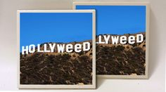 Set of 2 Hollywood Hollyweed Sign Ceramic Tile by lucky20stuff