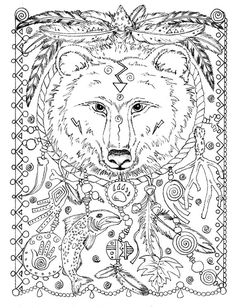 5 Pages Instant Download Animal Spirits To Color Wolf Raven Crow Eagle Bear Native American Art More Information