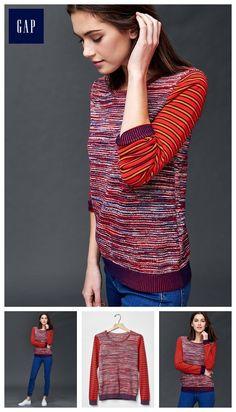 Marled stripe sleeve sweater