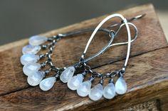 Rustic Sterling Silver *Moonstones Drops* earrings-smooth gemstones drops,artisan metalwork,boho,fine gispy,fringes,rustic,sterling rings