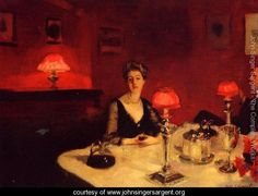 A Dinner Table At Night - John Singer Sargent - www.johnsingersargent.org