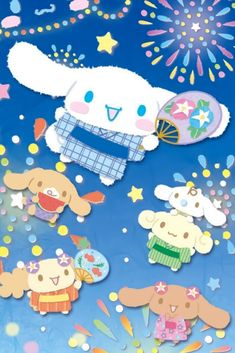 Sanrio Characters, Blue Wallpapers, My Melody, Cinnamon Rolls, Hello Kitty, Sketches, Puppies, Friends, Wall Papers