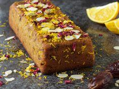 Amandelcake met dadels en sinaasappel Healthy Baking, Meatloaf, Allrecipes, Banana Bread, Sweets, Desserts, Cakes, Tailgate Desserts, Deserts