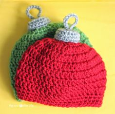 Crochet Christmas Ornament Hat Pattern - Repeat Crafter Me