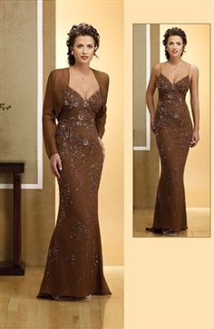 Trumpet/ Mermaid Coat/ Jacket Floor-length Spaghetti Straps Mother's Dresses - Mother Of The Bride Dresses - OuterInner.com
