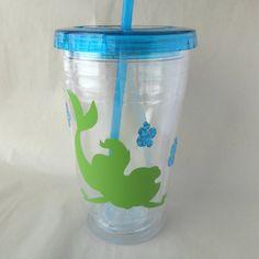 Ariel Vinyl Tumbler Little Mermaid Straw Cup by DeegeeMarieGifts