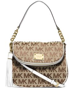 a0f669ceefb MICHAEL Michael Kors Jet Set Item Medium Tassel Convertible Shoulder Bag  Beige Ebony White