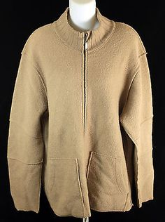 Tulliano Beige Zip Up Wool Sweater Mens Size Large