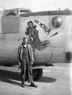 """Oh Mona!"" Ford built B-24L-10-FO Liberator Serial number 44-49544 755th Bomb Squadron, 458th Bomb Group, 8th Air Force. She survived the war and returned to the U.S., being sent to the scrappers in Walnut Ridge,Arkansas on January 17,1946."