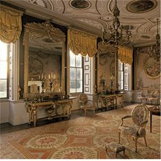 a-l-ancien-regime:  Newby Hall The drawing room  Yorkshire  England Designed by Sir Christopher Wren, interiors by  Robert Adam  furniture by Chippendale  , Gobelins tapestries and classical statuary. Photo: Julian Nieman