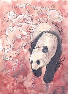 Where the Clouds Meet by Kitsune-Seven on deviantART.  Watercolor and ink