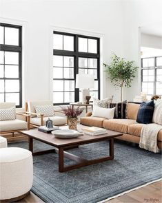 Rugs In Living Room, Home And Living, Living Room Designs, Modern Living Room Furniture, White Couch Living Room, Warm Living Rooms, Living Room Tables, Modern Living Room Decor, Modern Couch