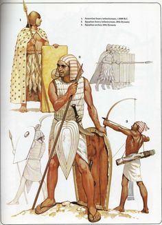 "Illustration from Osprey's Men at Arms book ""Ancient armies of the Middle East"". Showing ancient Sumerian and Egyptian soldiers armed with bows pole arms knives and shields. Light to no armor. Ancient Near East, Ancient Art, Ancient Egypt, Ancient History, Egyptian Weapons, Egyptian Art, Armadura Medieval, Historical Art, Roman Empire"