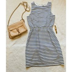 HP J Crew Factory Sz 0 Dress No Trades. Blue and white stripped dress with back zipper detail. Elastic at waist. Worn less than 5 times. J. Crew Dresses