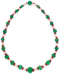 Natural Pearl, Emerald, Ruby and Diamond Necklace | Lot | Sotheby's