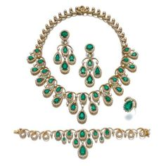 Emerald and Diamond ParureComprising: a necklace set with pear-shaped emeralds and brilliant-cut diamonds, length approximately 355mm, a bracelet, length approximately 180mm, a pair of pendent ear...