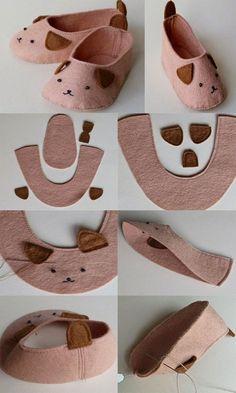 Molde para hacer unos zapatos para bebe con fieltro
