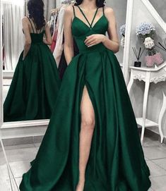Split Slit Evening Dresses, Long Prom Gown, Prom Dresses H3931 by Fashiondressy, $135.00 USD Dark Green Prom Dresses, Split Prom Dresses, Junior Prom Dresses, Homecoming Dresses, Dark Green Long Dress, Pastel Prom Dress, Black Prom, Pageant Dresses, Ball Gowns Prom