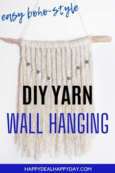 Simple Yarn Wall Hanging Tutorial - learn how to make a boho style wall hanging with driftwood, yarn and wooden beads! Cool Room Decor, Wall Decor, Yarn Wall Hanging, Repurposed Items, Boho Diy, Summer Diy, Fall Diy, Cool Diy Projects, Wooden Beads